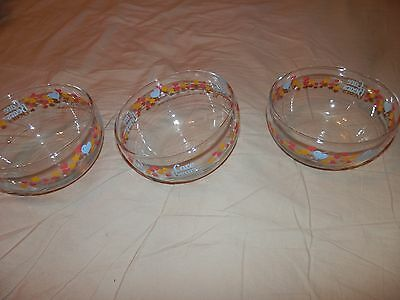 Lot OF 3 Vintage Care Bears Glass Bowls 1986