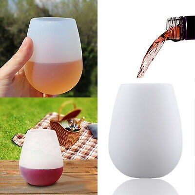 Unbreakable Silicone Cup Wine Glass Stemless Beer Whiskey Collapsible Hot T