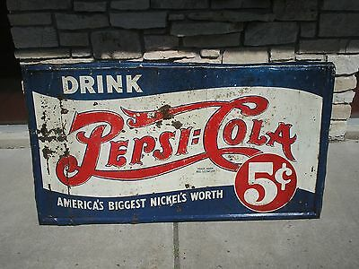 Vintage Pepsi 5 Cent Sign 1939-1940 LARGE 34 X 52