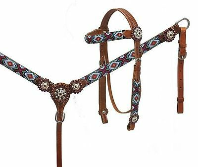 Showman Medium Oil Leather Bridle & Breast Collar W/ Beaded Wrapped Overlays!