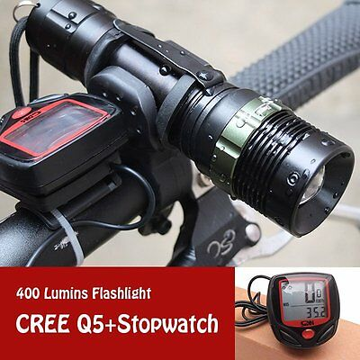 Cree Q5 Bike Front Torch Headlight with Speedometer Gauge Odometer Cycling Set