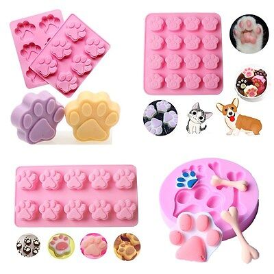 Pets Cat Dog Paw Silicone Cookie Cake Candy Chocolate Mold Soap Ice Cube Mold