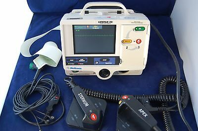 Physio Control Lifepak 20 Biphasic 3 Lead AED & ECG Pacing Analyze Hard Paddles
