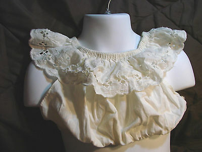 Vintage 50s Girls Childs Top Blouse RUFFLES Tube Crop Eyelet Lace  4