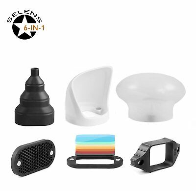 Selens Universal 6 in1 Honeycomb Grid Set Diffuser Accessories Flash Magnet  New
