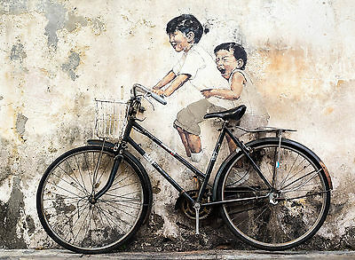 Bike Stencil Wall photo Framed Poster Canvas Street Art Painting Paper