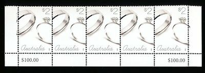 2016 Australian Strip of 5 x $2 Stamps MUH - Love to Celebrate