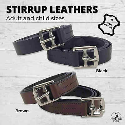 "New English Stirrup Leathers Black or Brown Leather Child 42"" Adult 54"" 56"" 58"""