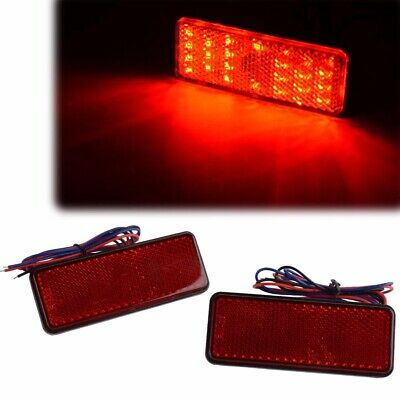 2pcs Red Rectangle LED Reflector Tail Brake Stop Lights Universal For Car Motor