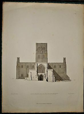 1810 Dated Large Antique Architecture Print Cathedral James Basire Durham Carter