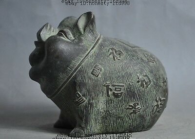 "6""marked chinese bronze fengshui Zodiac Animal Pig wealth lucky statue Figurines"