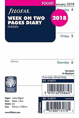 Filofax Pocket Size 2018 Week On Two Pages Diary White Refill Insert 18-68221