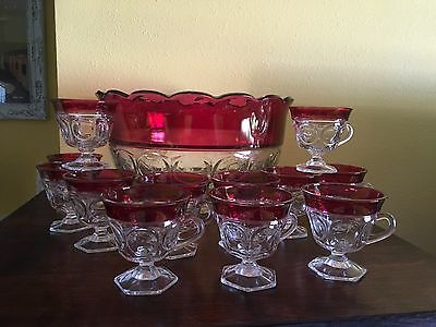 Indiana Glass Lexington Thumbprint Cranberry Ruby Red Flash Punch Set - 13-piece