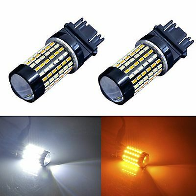 2x 120-SMD Switchback 3157 White Amber Dual Color LED Turn Signal Light Bulbs