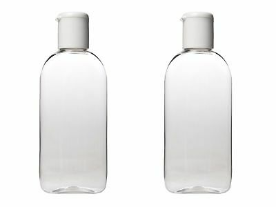 100 ml HOLIDAY TRAVEL BOTTLES 2 x 100ML Clear Plastic Bottles - Airline Approved