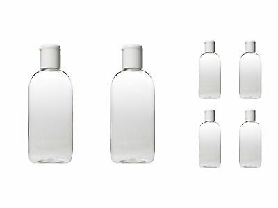 100 ml HOLIDAY TRAVEL BOTTLES 6 x 100ML Clear Plastic Bottles - Airline Approved