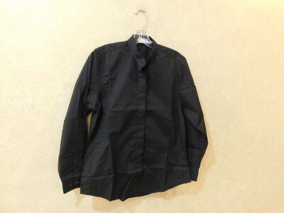 Chef Works W200-BLK-M Women's Black Banded-Collar Shirt Size Medium M ____ R15D2