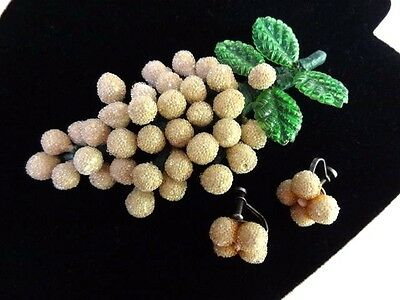 Vintage 1940s Celluloid Leaves & SUGAR BEAD Grapes Brooch Earring Set VGC