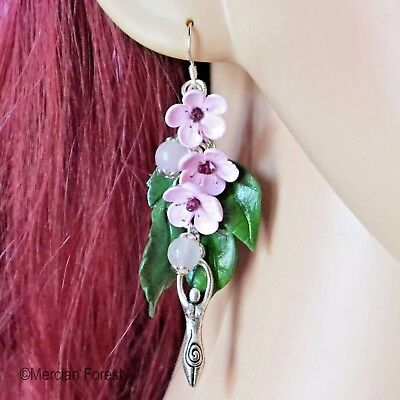 Divine Union Cherry Blossom Pagan Earrings - Various Charms - Wicca, Flowers