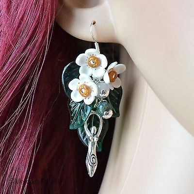 Maying Hawthorn Pagan Earrings - Beltane, Wicca, Handfasting Jewellery, Clay