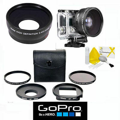 Wide Angle Lens + Close Up Lens + Uv/Cpl Hd Filter Kit For Gopro Hero4 Silver