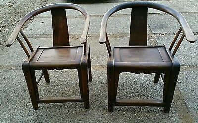 Pair antique Qing Chinese horseshoe cypress oxbow elm chairs early 1800s sturdy
