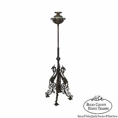 Bradley & Hubbard Antique Wrought Iron Piano Floor Oil Lamp w/Griffins