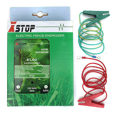 230v MAINS 10Km  ELECTRIC FENCE ENERGIZER ENERGISER 0.5J CE RoHS EL90+STAKE+WIRE