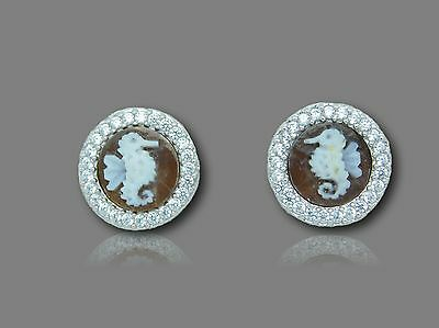 925 Sterling Silver vintage Cameo round x mm10 FTC Seahorse earrings Zircons g.5