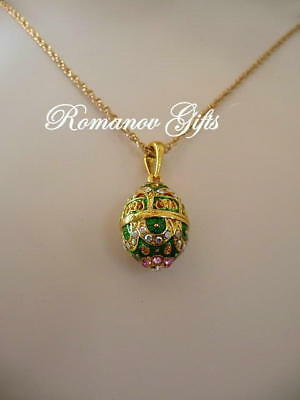 Faberge Empress Alexandra Russian Imperial Green Scroll Egg Pendant Necklace