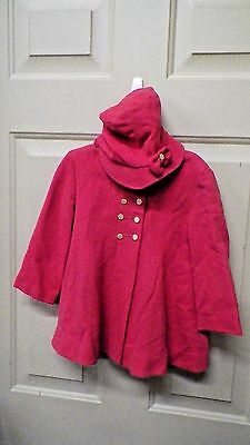 Vintage 1940S~1950S Little Girls Pink Coat And Bonnet Type Hat~Nice~Nr