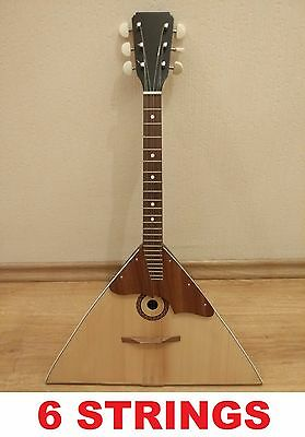 New Classic BALALAIKA, 6 Strings Prima, Natural Wood, Folk russian instrument
