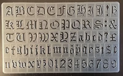 20 mm OLD ENGLISH STENCILS UPPER & LOWER CASE LETTERS & NUMBERS STENCIL P-1596