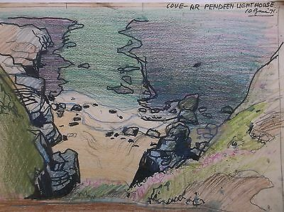 COLOURED GRAPHITE DRAWING by FREDERICK GEORGE WILLS 1901-1993 R.I. CORNWALL