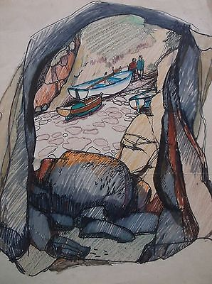 COLOURED GRAPHITE DRAWING by FREDERICK GEORGE WILLS 1901-1993 R.I. PORTHGWARRA