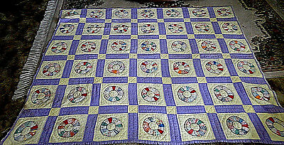 Single Wedding Ring Quilt ~ Hand Stitched ~ Hand Appliqued ~ Feed Sack ~ 1930's