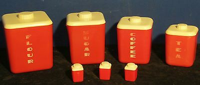Vintage Lustro Ware Canister Set With Matching Salt & Pepper Shakers Columbus OH