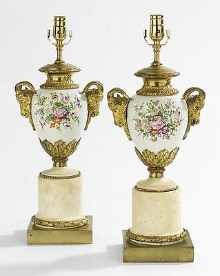 Pair Antique French Porcelain Marble and Gilt Bronze Neoclassical Lamps