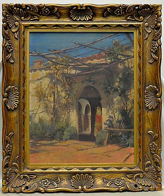 G. Todd Vintage Unfinished Estate Architectural Oil Painting on Wood Panel