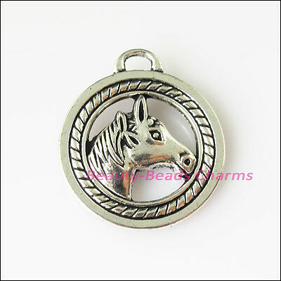 3 New Round Circle Horses Animal Tibetan Silver Tone Charms Pendants 25x28mm