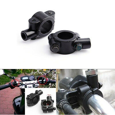 "2x Universal Motorcycle Handlebar Mirror Mount 10mm 7/8"" Aluminum Clamp Black BT"
