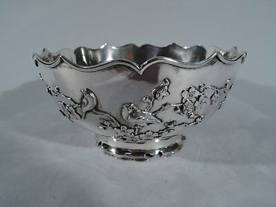 Export Bowl - China Trade - Asian - Birds Branch - Chinese Silver - Sing Fat