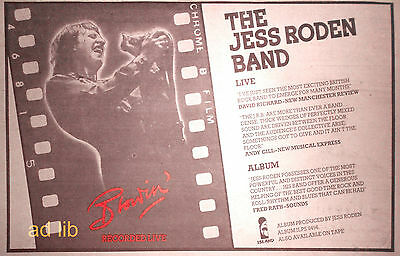 "THE JESS RODEN BAND - ISLAND RECORDS, 12"" x 8"" UK ADVERT/AD 1977"