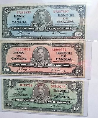 Lot of 8, 1937 BANK of CANADA Banknotes Face value $14
