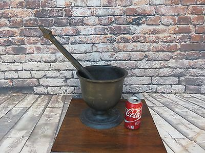 Antique Large 22 Lbs Cast Iron Mortar & Pestle Apothecary/pharmacy Marked 4 Qts