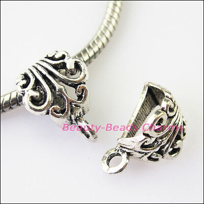 10 New Flower Tibetan Silver Bail Bead Fit Bracelet Chrams Connectors 12x17mm