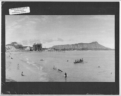 Early Waikiki Panorama, Oahu. Honolulu 1910?  Photo On 8X10 Inch Mat