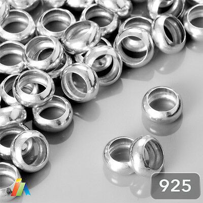 925 STERLING SILVER 4 6 8mm DONUT SMOOTH RING SPACER BEADS FINDINGS