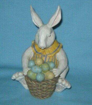 Foreside Bunny Rabbit With Basket Of Eggs ~ Resin Figurine