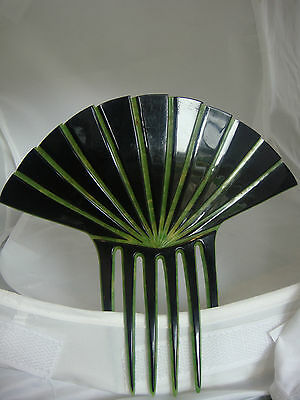 True Vintage Green & Black Celluloid Hair Comb